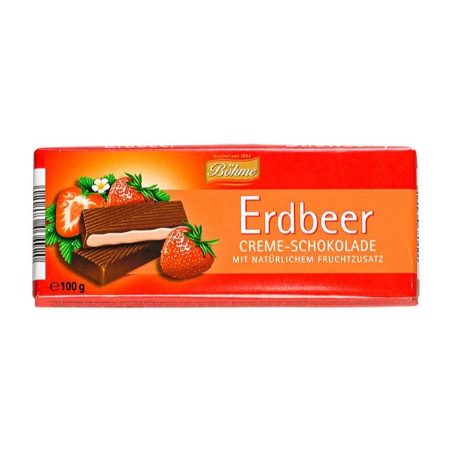 Шоколад Bohme Erdbeer темный с клубничной начинкой 100 г шоколад maitre truffout erdbeer темный с помадной начинкой со вкусом клубники 50% 100 г