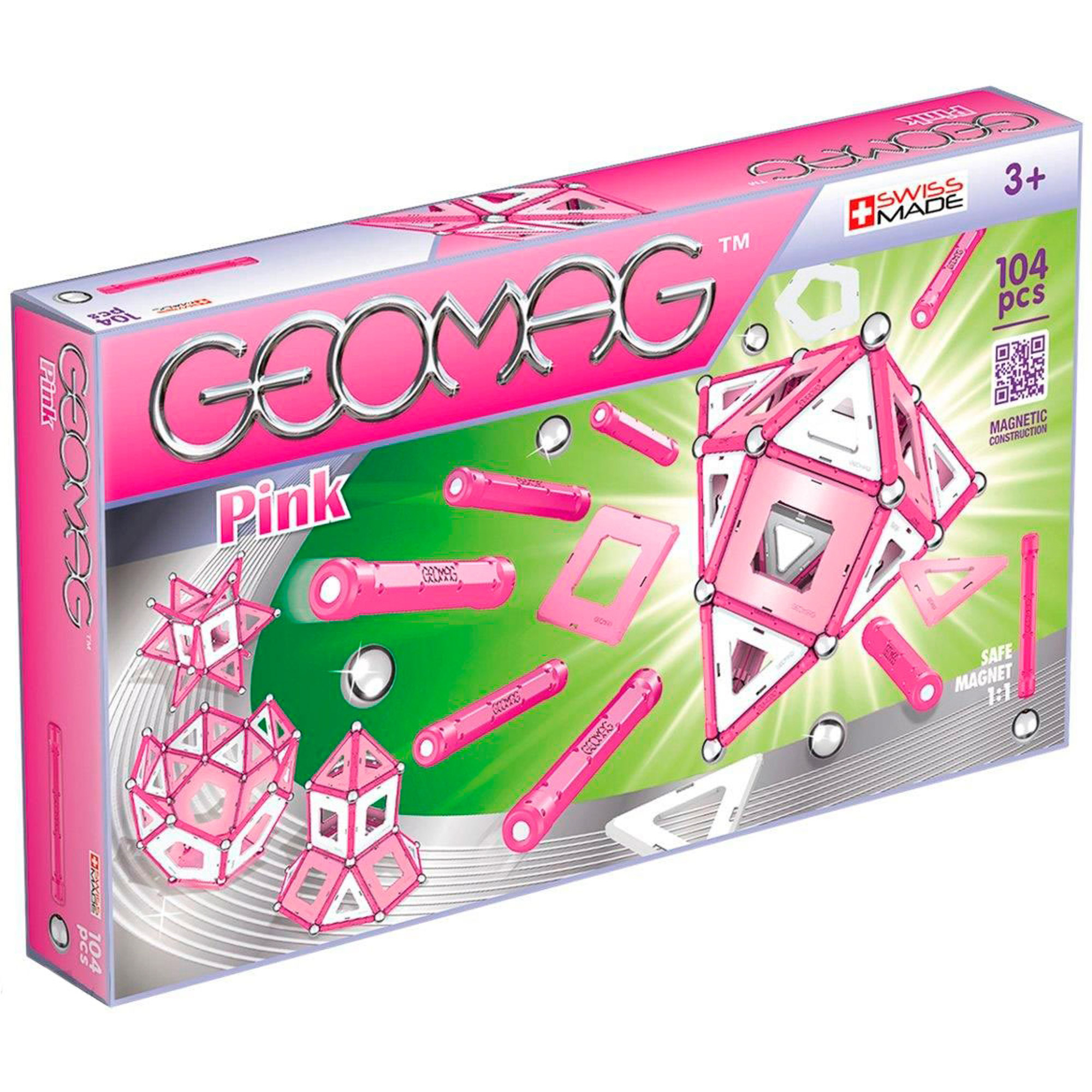 Купить Конструктор магнитный Geomag Glow 344 Pink, Швейцария, пластик, металл, магнит, универсальный, Конструкторы, пазлы