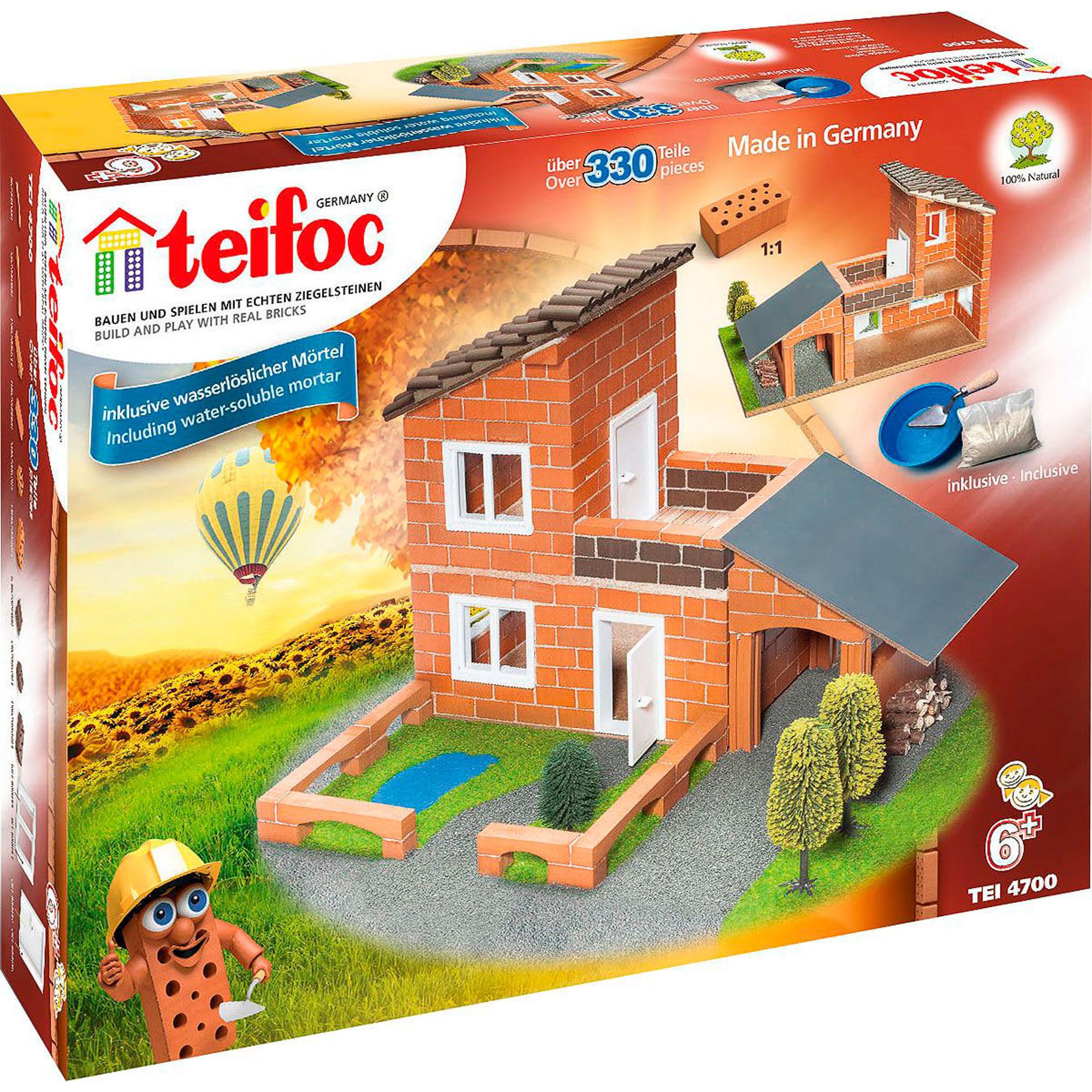 Фото - Игровой набор TEIFOC Вилла с гаражом TEI 4700 сборные модели teifoc дополнительный набор кирпичи смесь мастерок 280 деталей