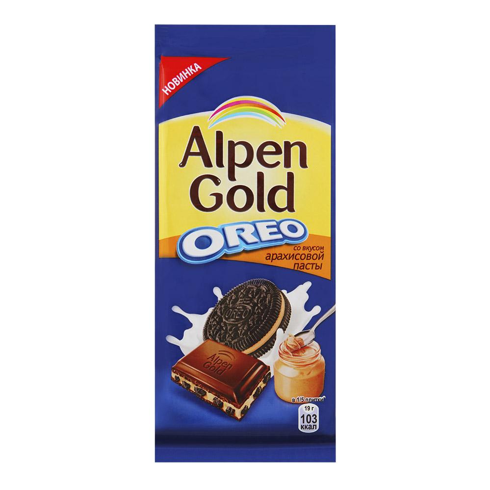 Шоколад Alpen Gold Оreo молочный с начинкой со вкусом арахисовой пасты и кусочками печенья 95 г шоколад maitre truffout erdbeer темный с помадной начинкой со вкусом клубники 50% 100 г