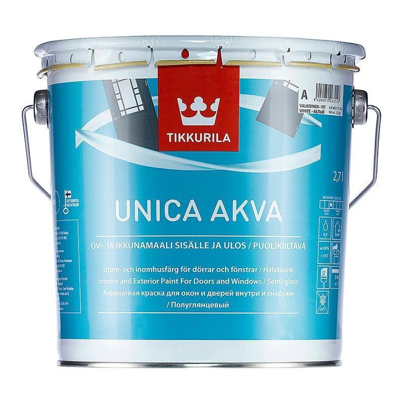 Краска для окон и дверей полуглянцевая Tikkurila unica akva с 2.7 л.