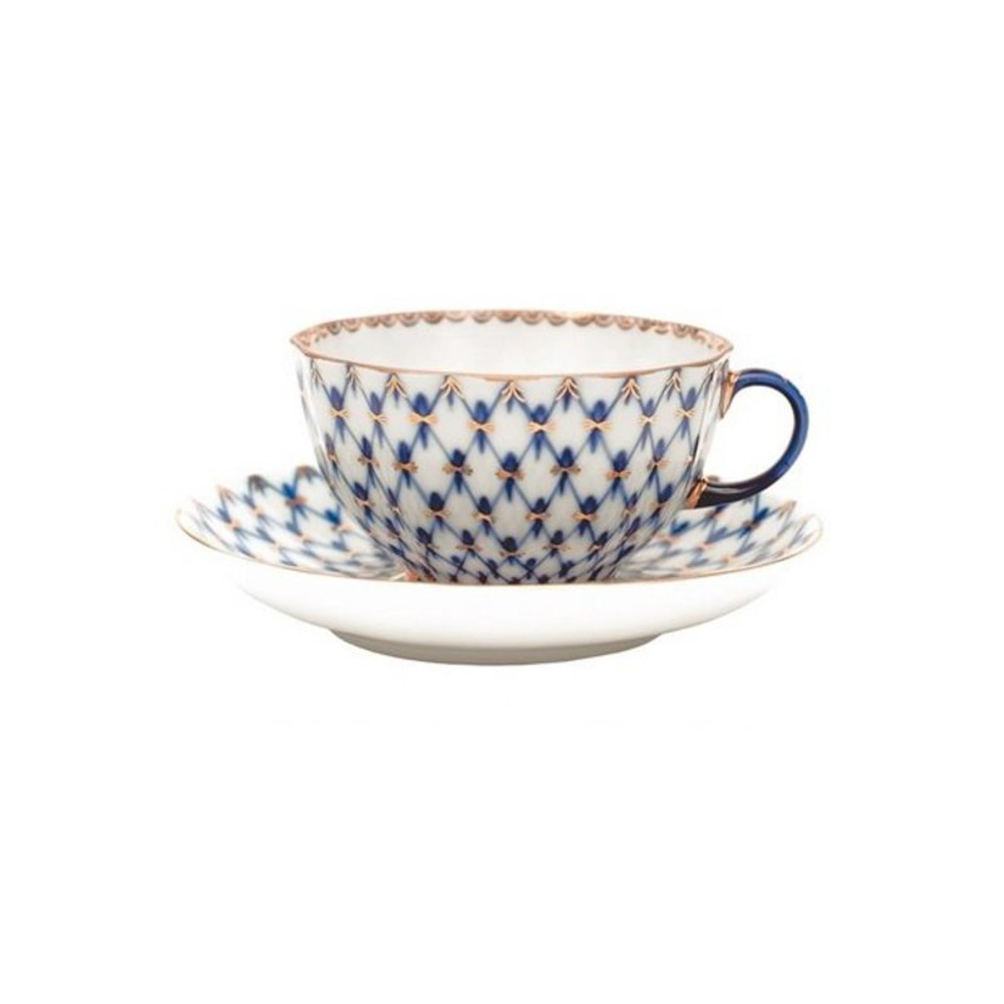 Чашка с блюдцем чайная тюльпан кобальтовая сетка Ифз