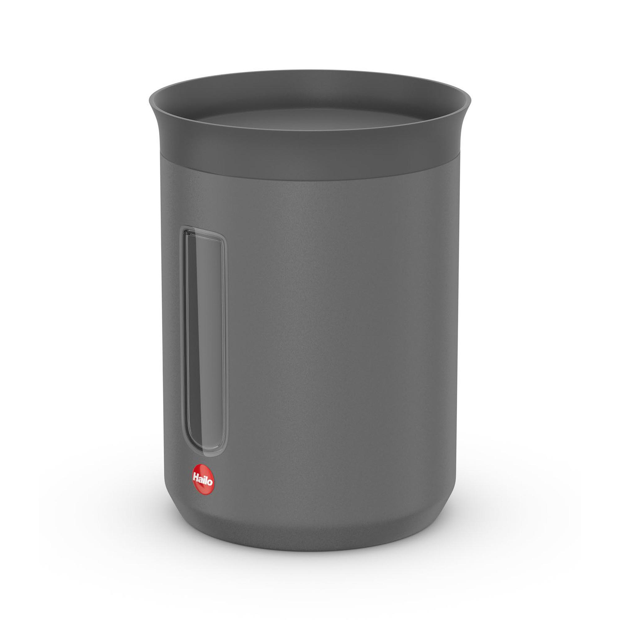 Контейнер металлический для хранения сыпучих продуктов 0.8 л Hailo серый матовый.