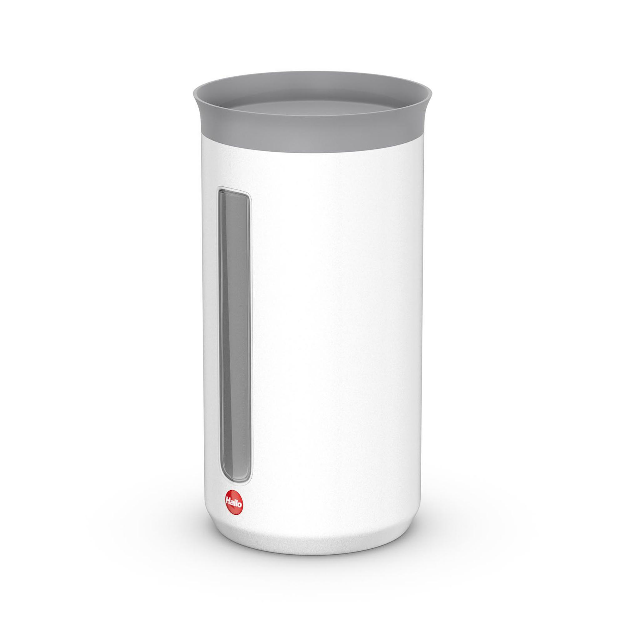 Контейнер металлический для хранения сыпучих продуктов 1.3 л Hailo белый матовый.