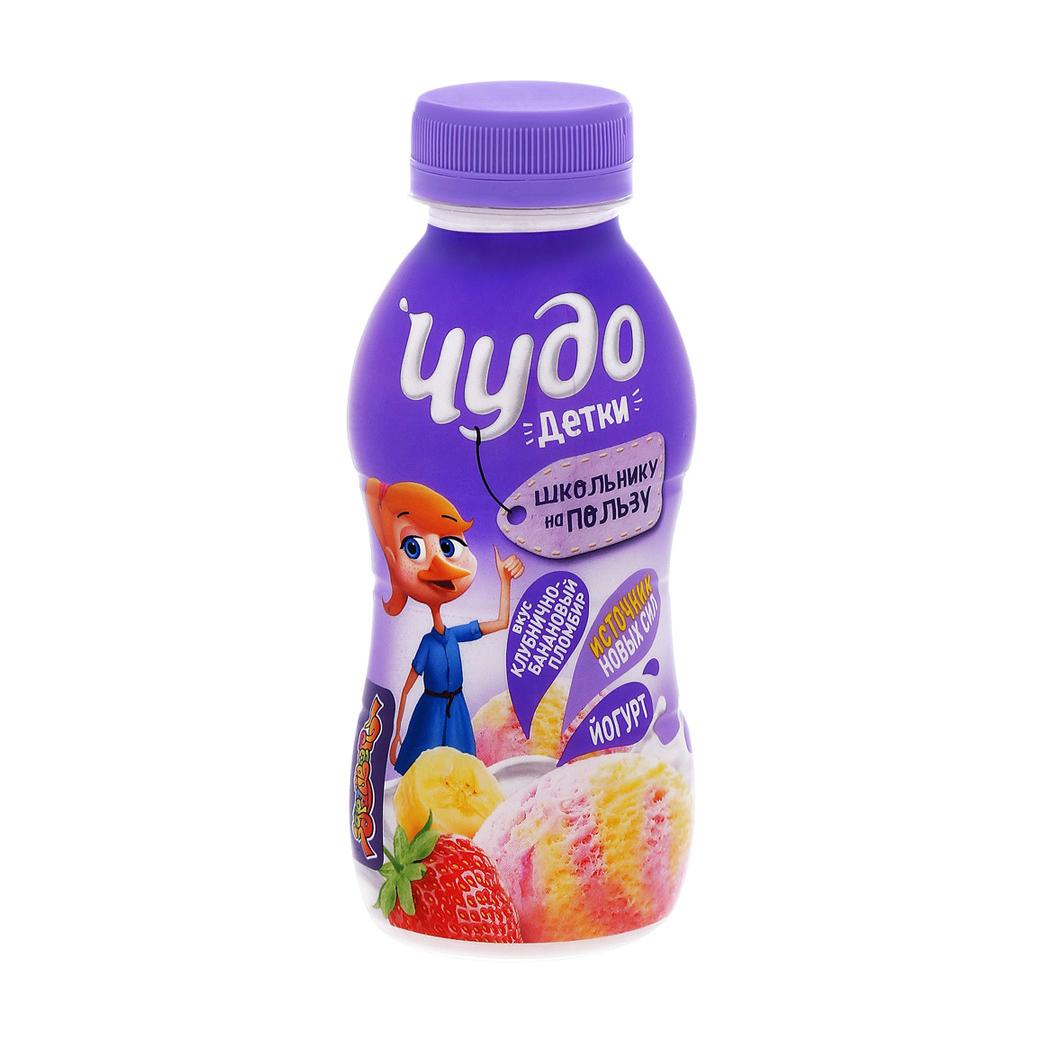 Йогурт Чудо Детки Клубнично-банановый пломбир 2,2% 200 г недорого