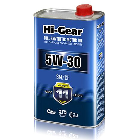 Масло моторное синтетическое 1л Hi-gear 5w-30 sm/cf