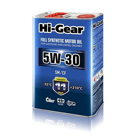 Масло моторное синтетическое 4л Hi-gear 5w-30 sm/cf