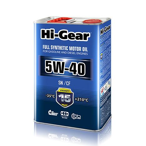 Масло моторное синтетическое 4л Hi-gear 5w-40 sn/cf