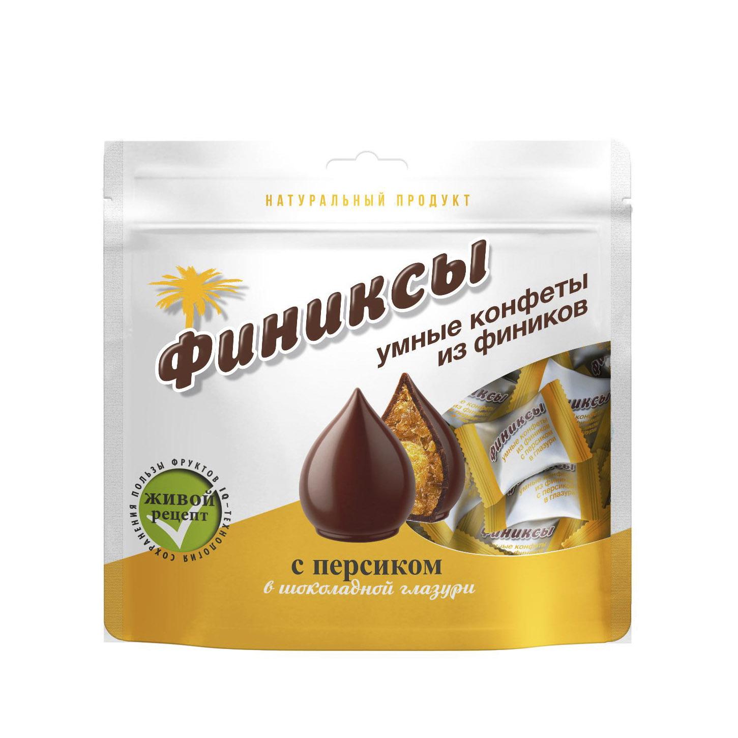 Конфеты Финиксы с персиком в шоколадной глазури 180 г конфеты malibu кокосовые в молочной шоколадной глазури 140 г