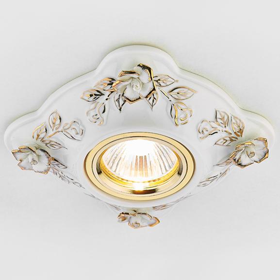 Светильник бел зол керамика Ambrella light D5504 W/GD