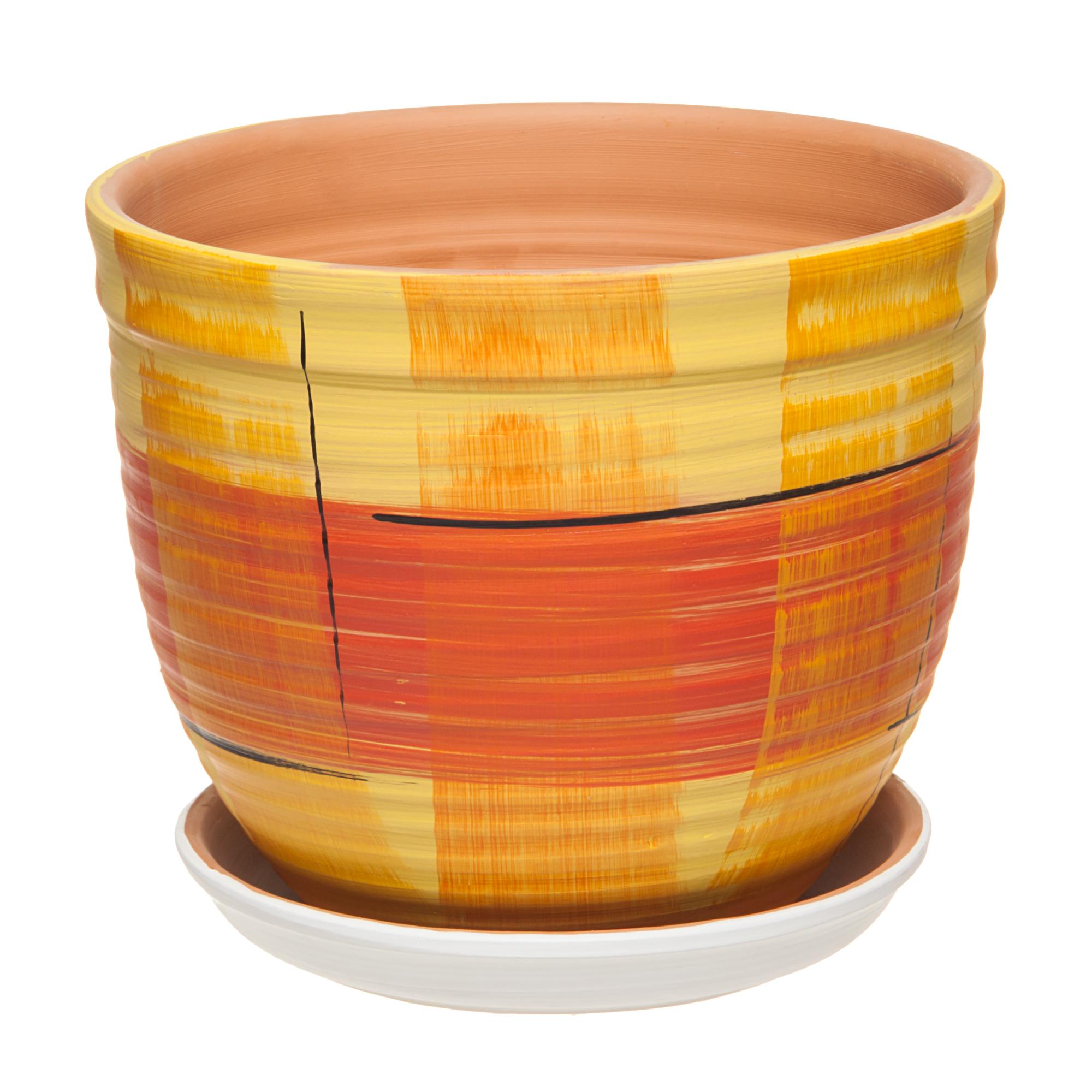Горшок Серебряный ручей D 28 см оранжевый фото