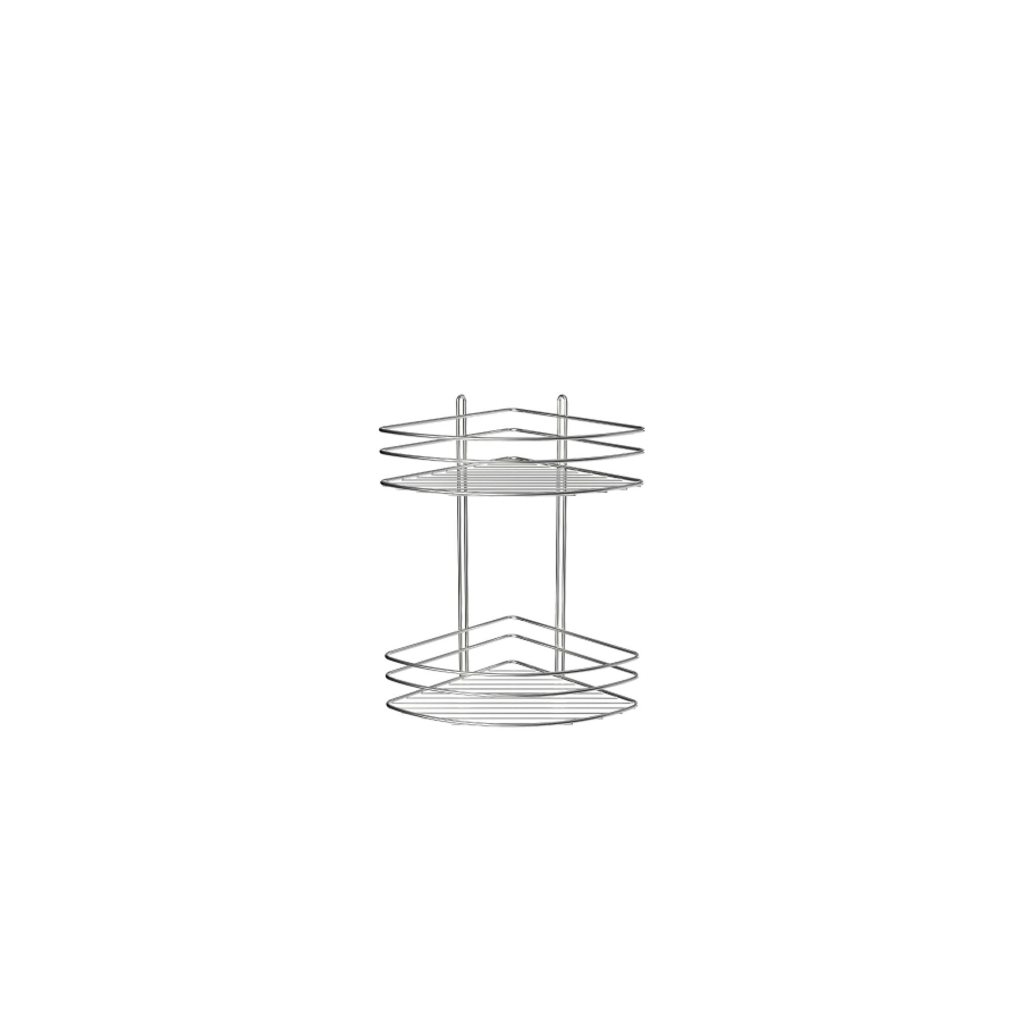 Купить Полка угловая двухэтажная хром Fixsen, полка, Китай, никель-хром, сталь