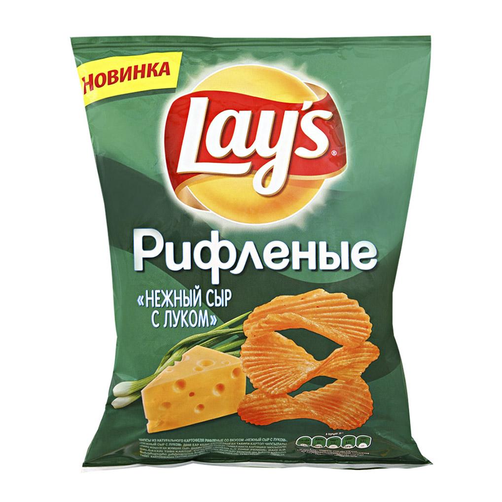 Чипсы картофельные Lays рифленые Нежный сыр с луком 80 г недорого