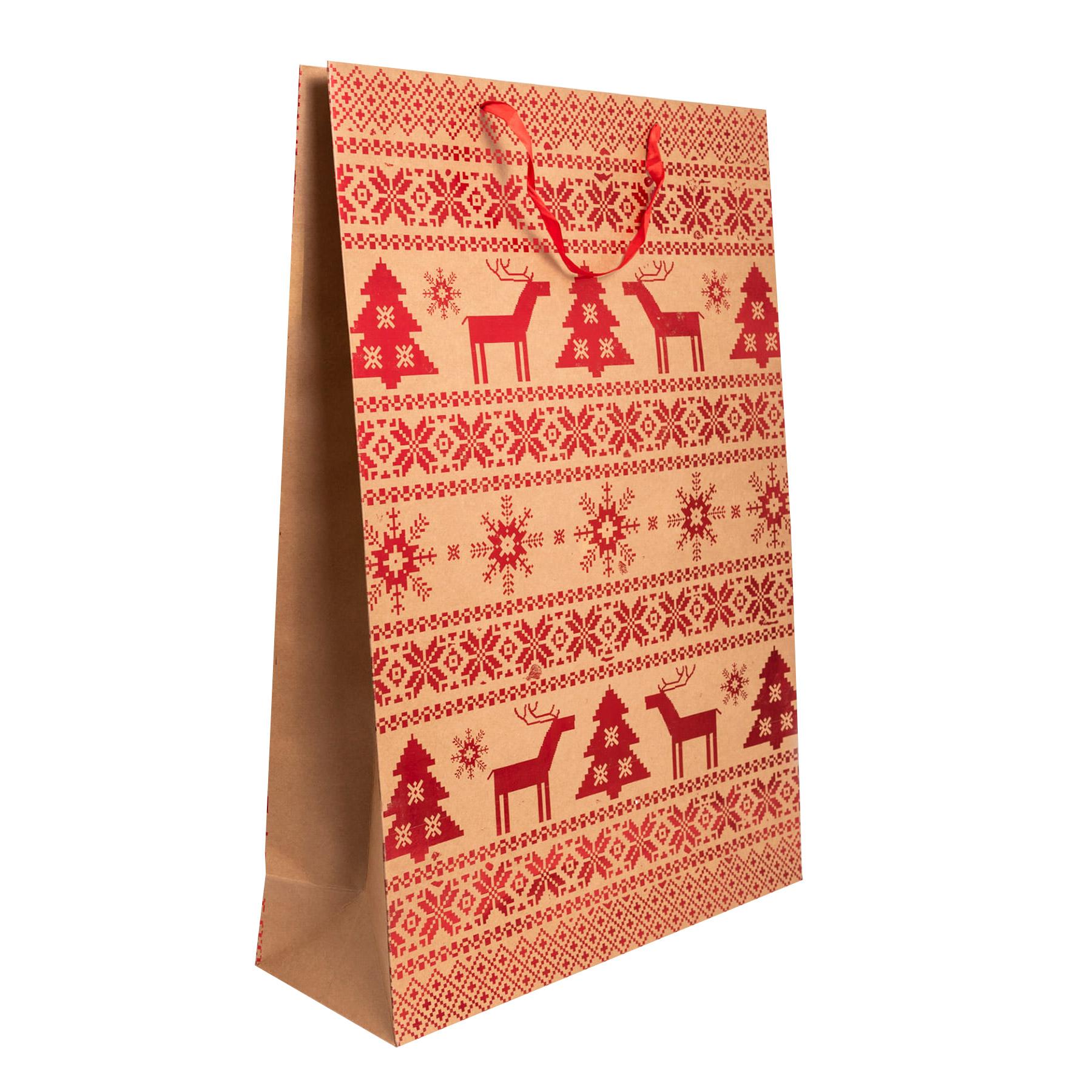 Пакет подарочный Kaemingk 18х50х72 см, Коричневый;красный