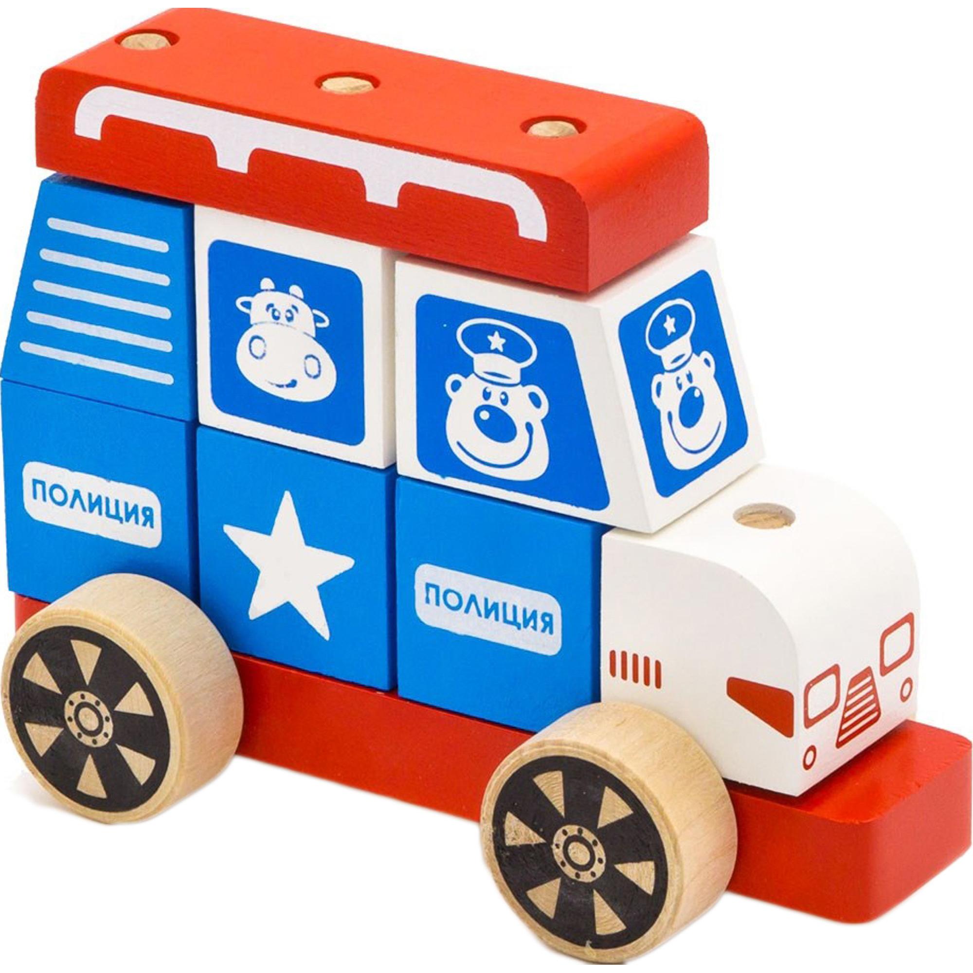 Купить Конструктор Alatoys каталка Полицейская машина большая, Россия, дерево, для мальчиков, Конструкторы, пазлы