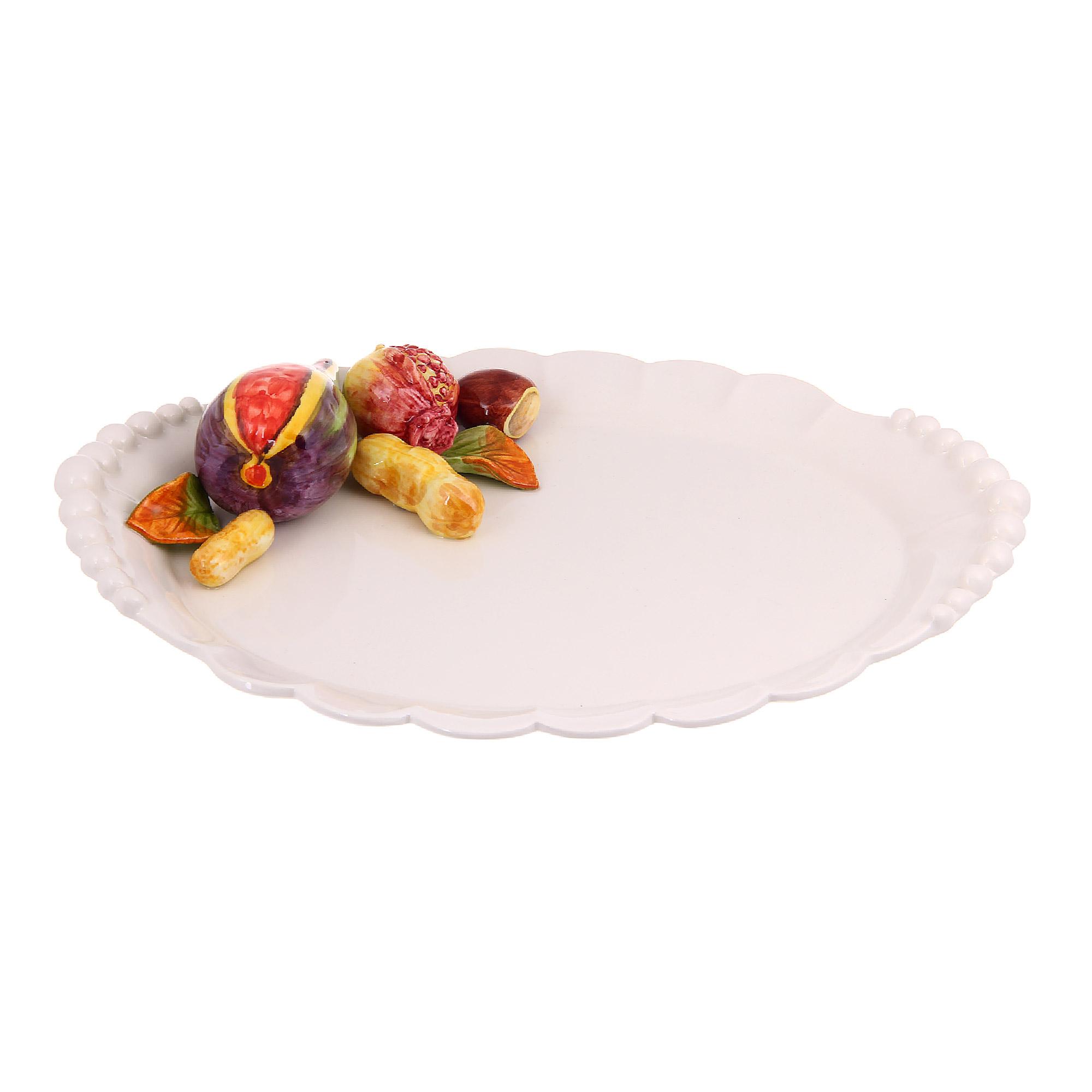 Купить Блюдо овальное Annaluma фрукты с арахисом 36х26см, Италия, грубая керамика