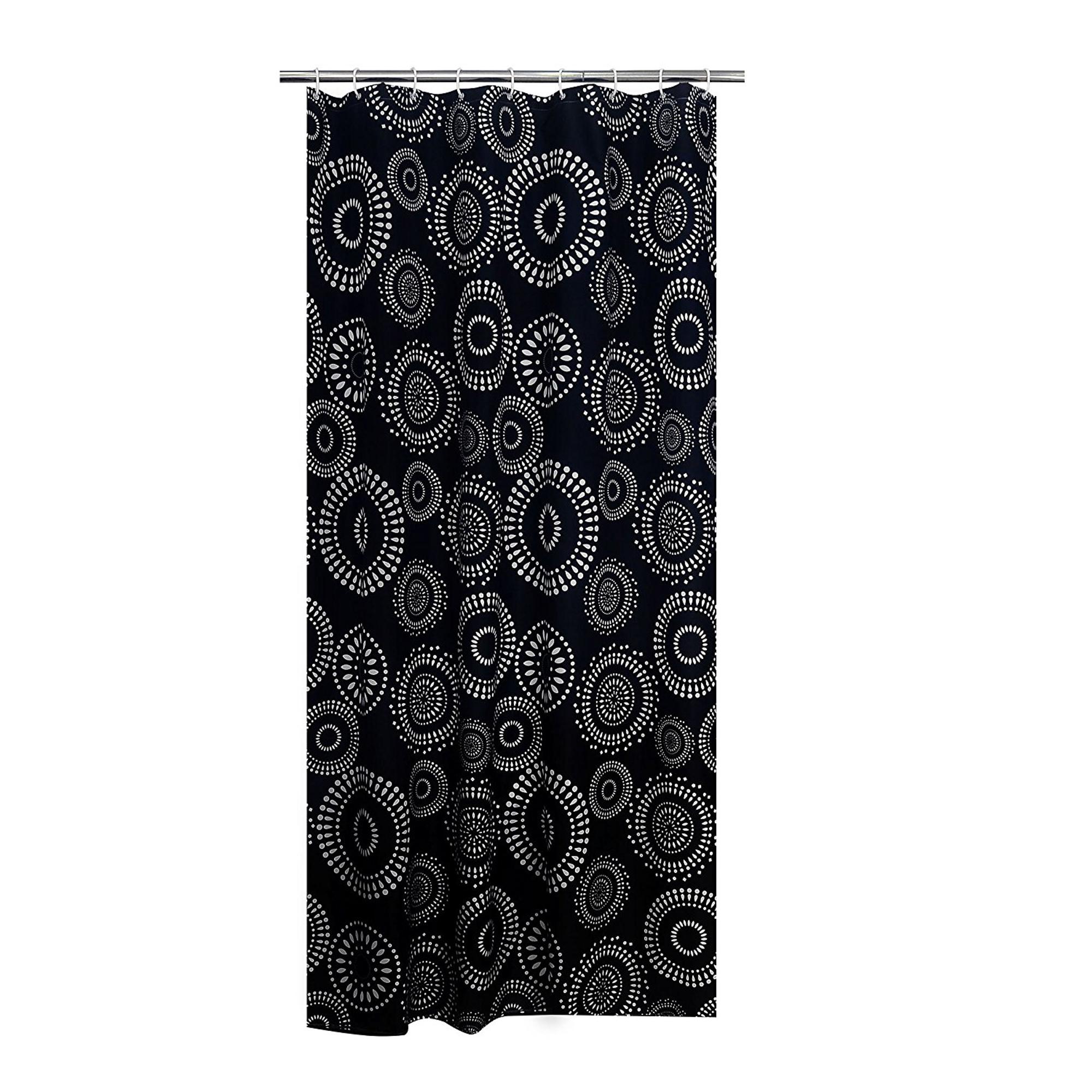 Штора для ванных комнат Fireworks черный 180*200 Ridder
