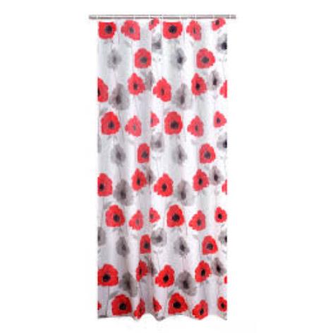 Штора для ванных комнат Poppy красный 180Х200 Ridder для ванных комнат