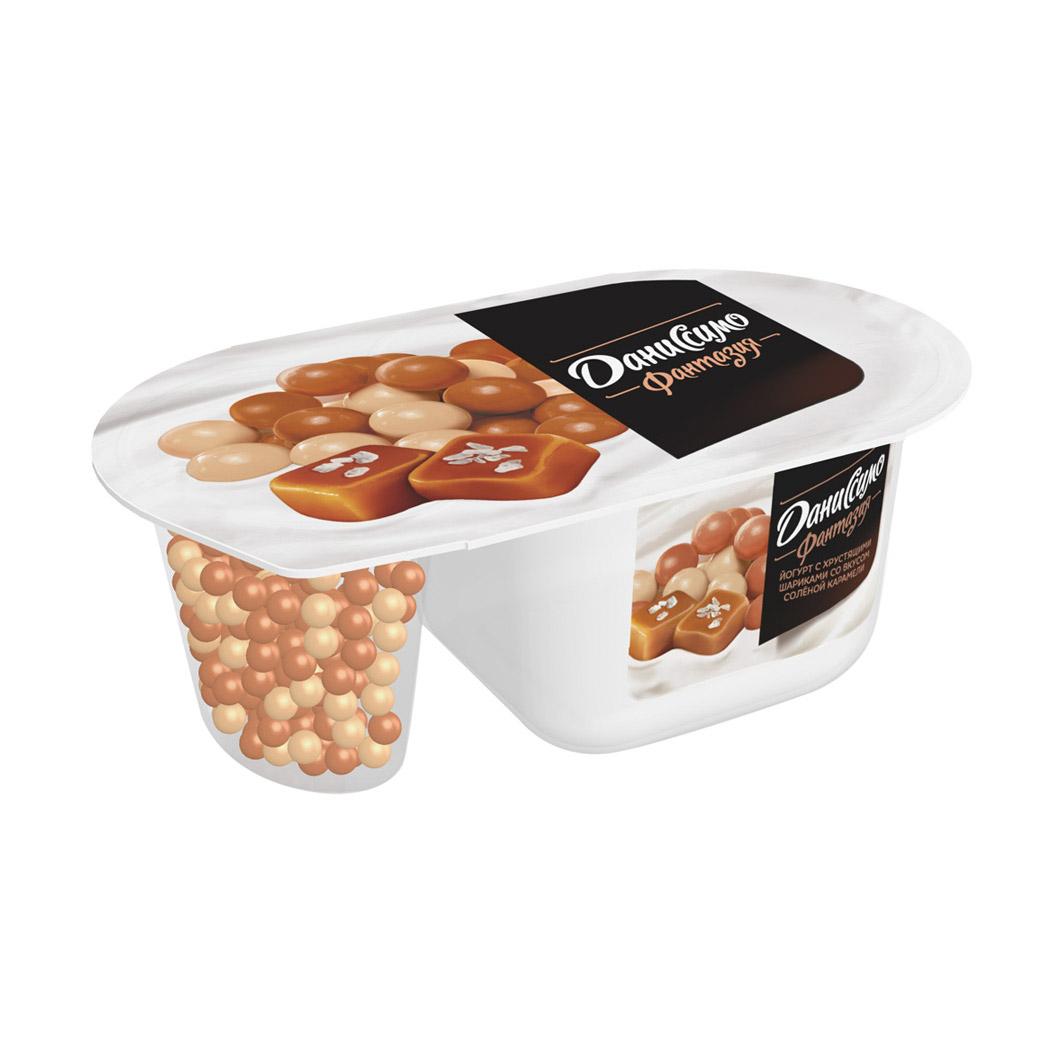 Йогурт Даниссимо Фантазия с хрустящими шариками со вкусом соленой карамели 6,9% 105 г