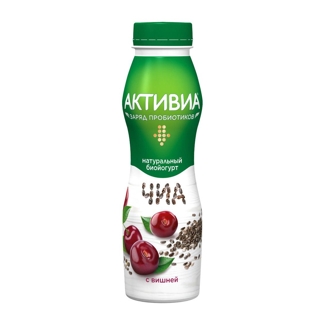 Биойогурт Активиа с вишней и семенами чиа 2,1% 260 г биойогурт активиа цитрусовый микс киноа 2 9% 150 г