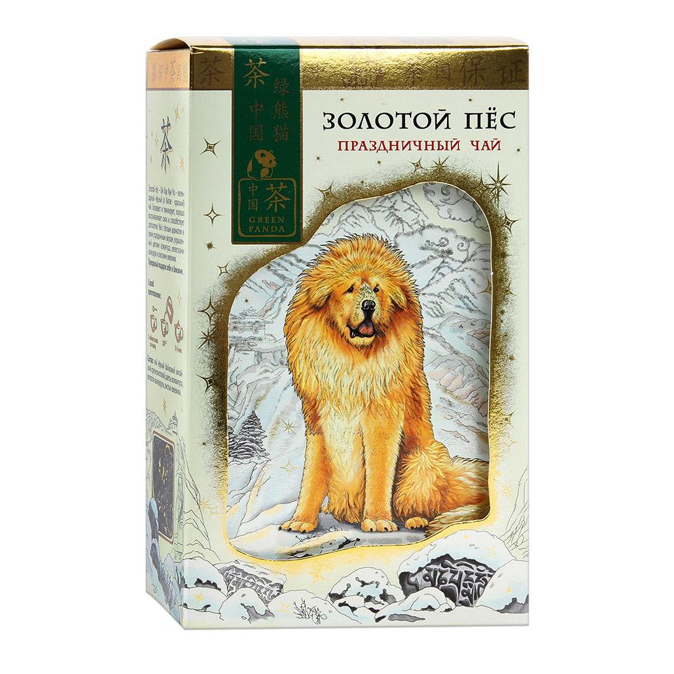 Чай Зеленая Панда Золотой пес черный китайский крупнолистовой с добавками 100 г