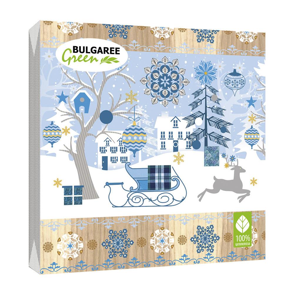 Салфетки бумажные Bulgaree Green Снежная сказка трехслойные 33x33 см 20 шт