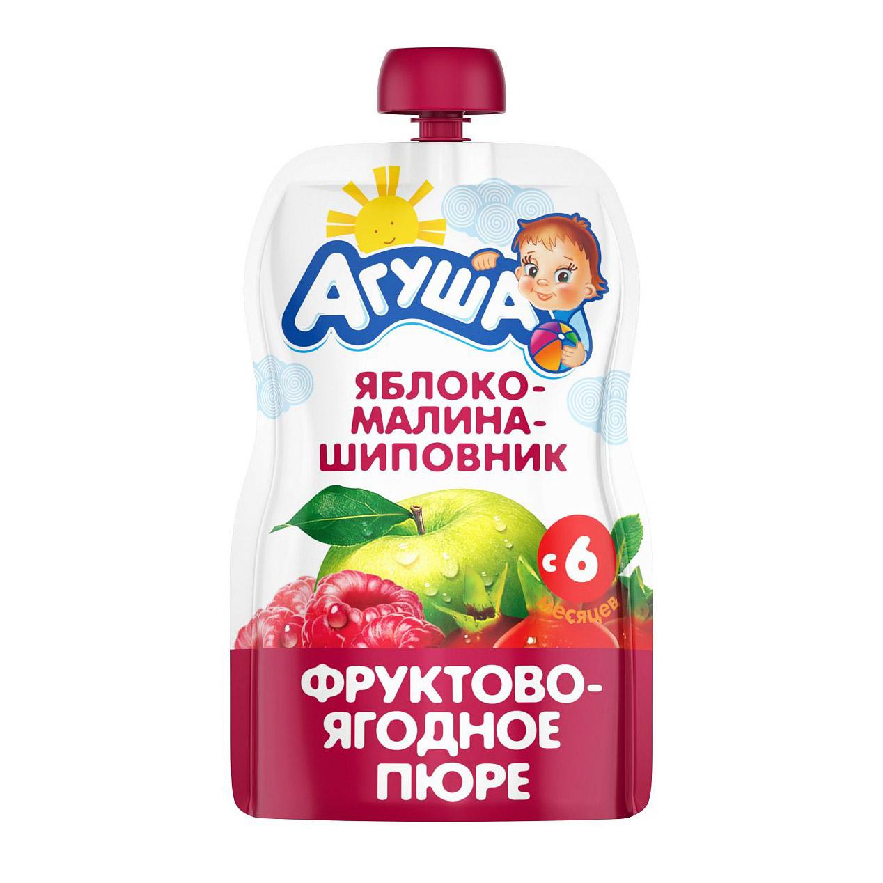 Фото - Пюре фруктово-ягодное Агуша Яблоко-Малина-Шиповник 90 г пюре агуша пюре doy pack яблоко малина шиповник с 6 мес 90 г