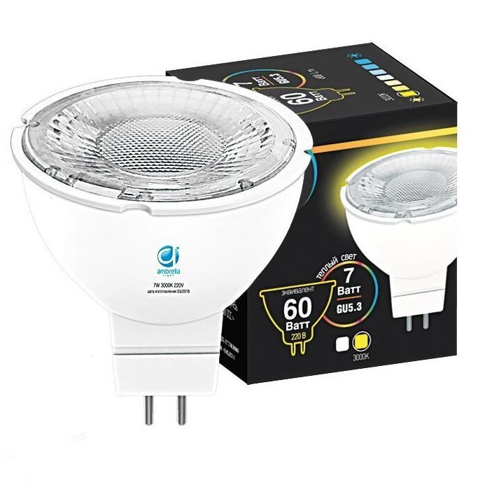 Лампа Ambrella light led mr16-pr 7w gu5.3 3000k 175-250 0 pr на 100