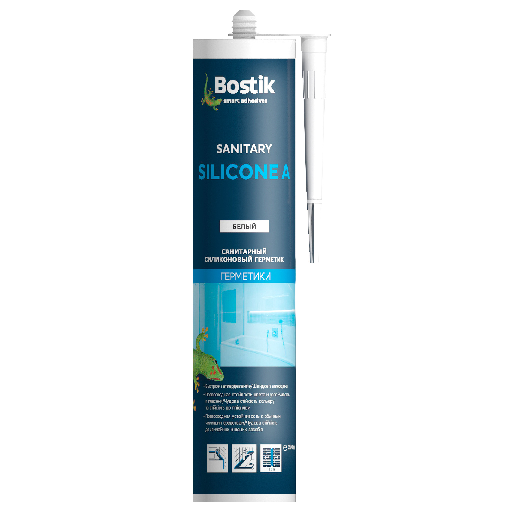 Герметик Bostik Sanitary Silicone A белый 280 мл