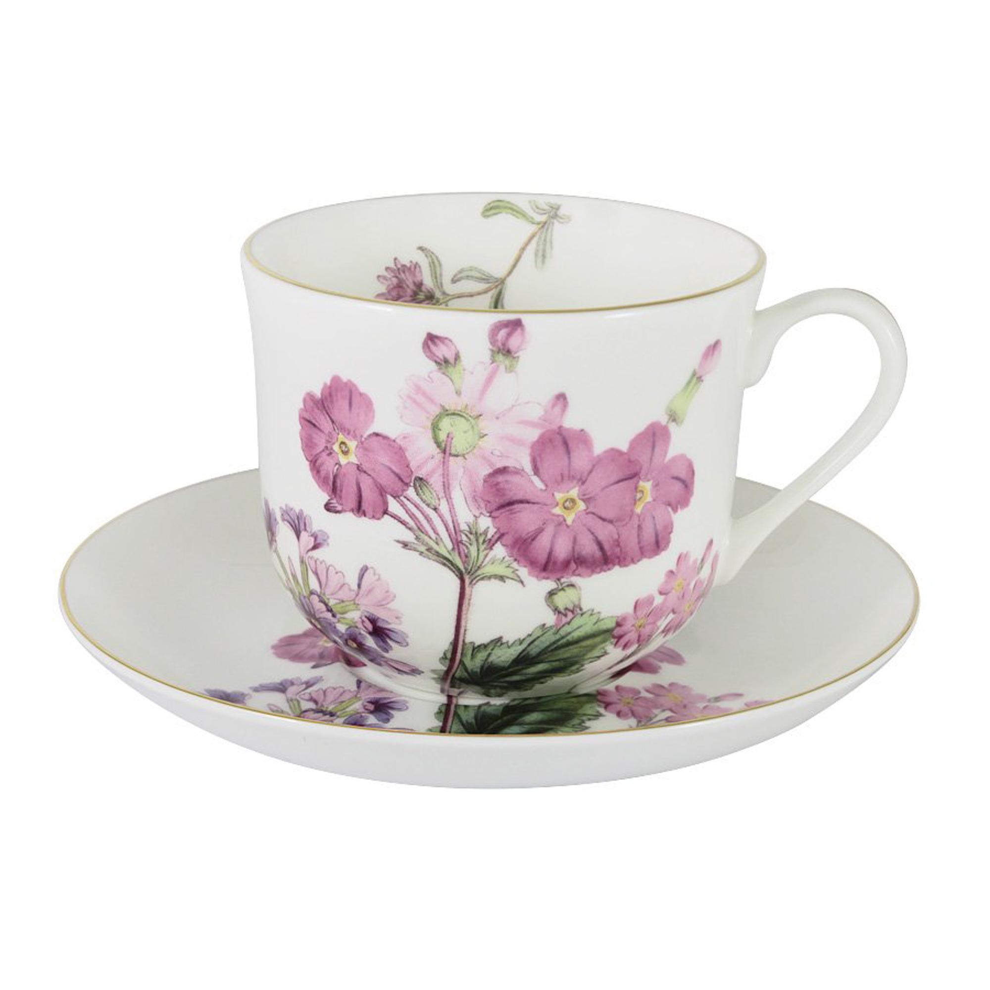 Купить Чашка с блюдцем 0, 45л роз, цветы лаура Annalafarg, Китай, тончайший фарфор костяной