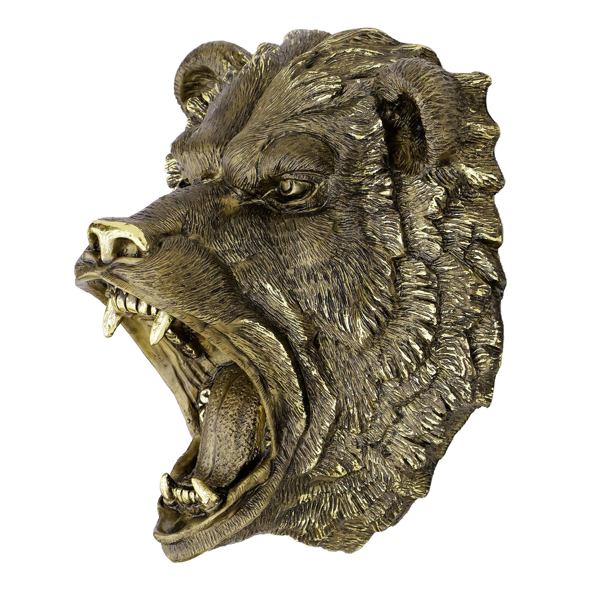 Изделие декоративное Тпк полиформ Медведь рычит голова 50см БРОНЗА