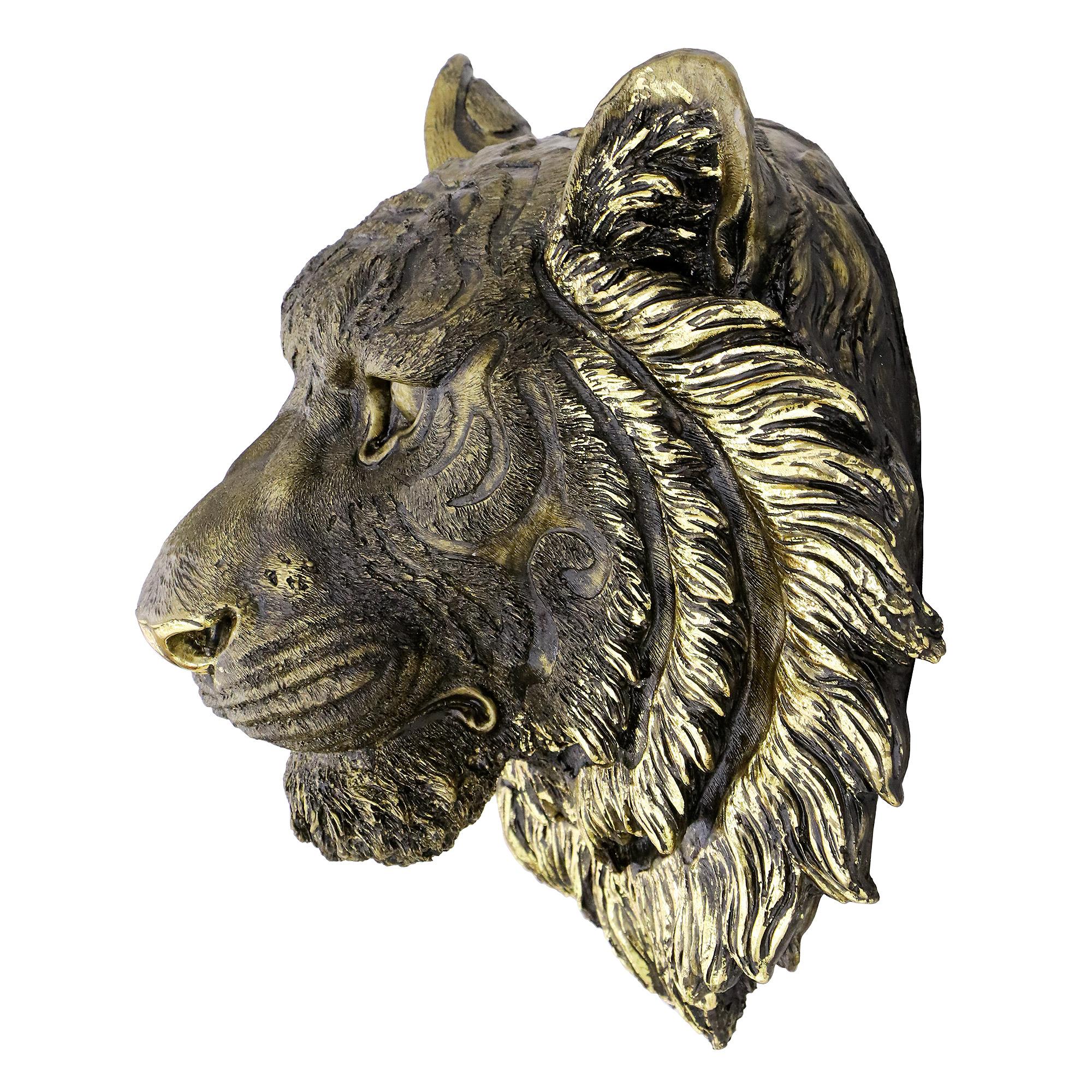 Изделие декоративное Тпк полиформ Голова тигра настенная 24 см БРОНЗА