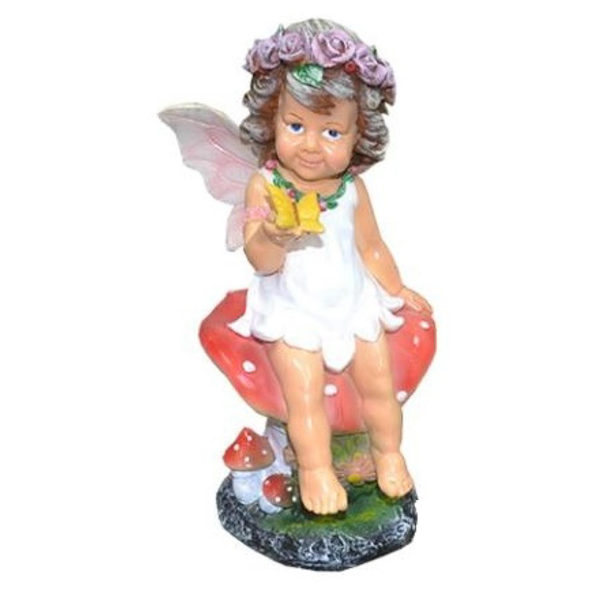 Девочка на грибе с бабочкой 49см бронза Тпк полиформ фото