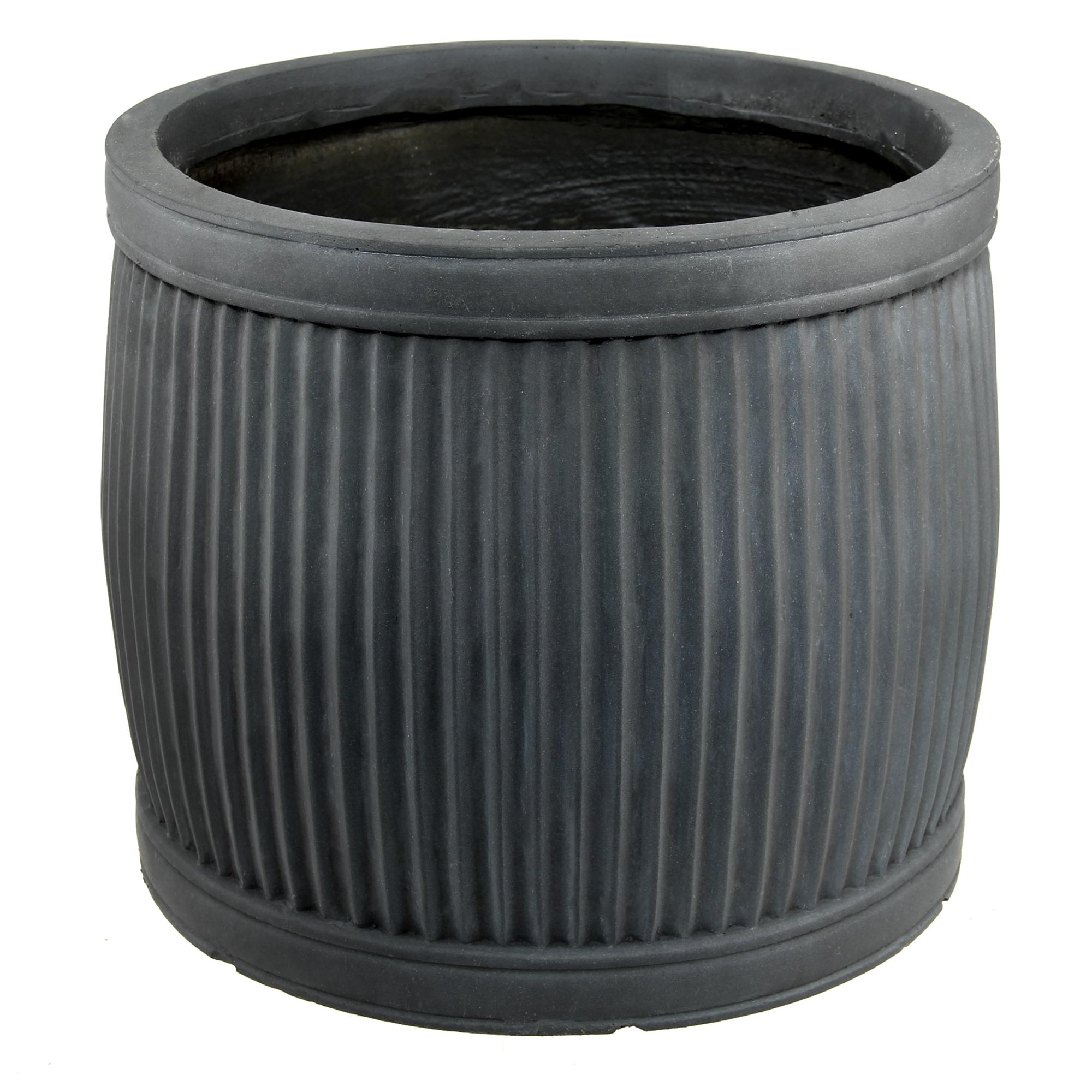 Горшок L&t pottery для цветов lt бочка ребристый серый 54 см фото