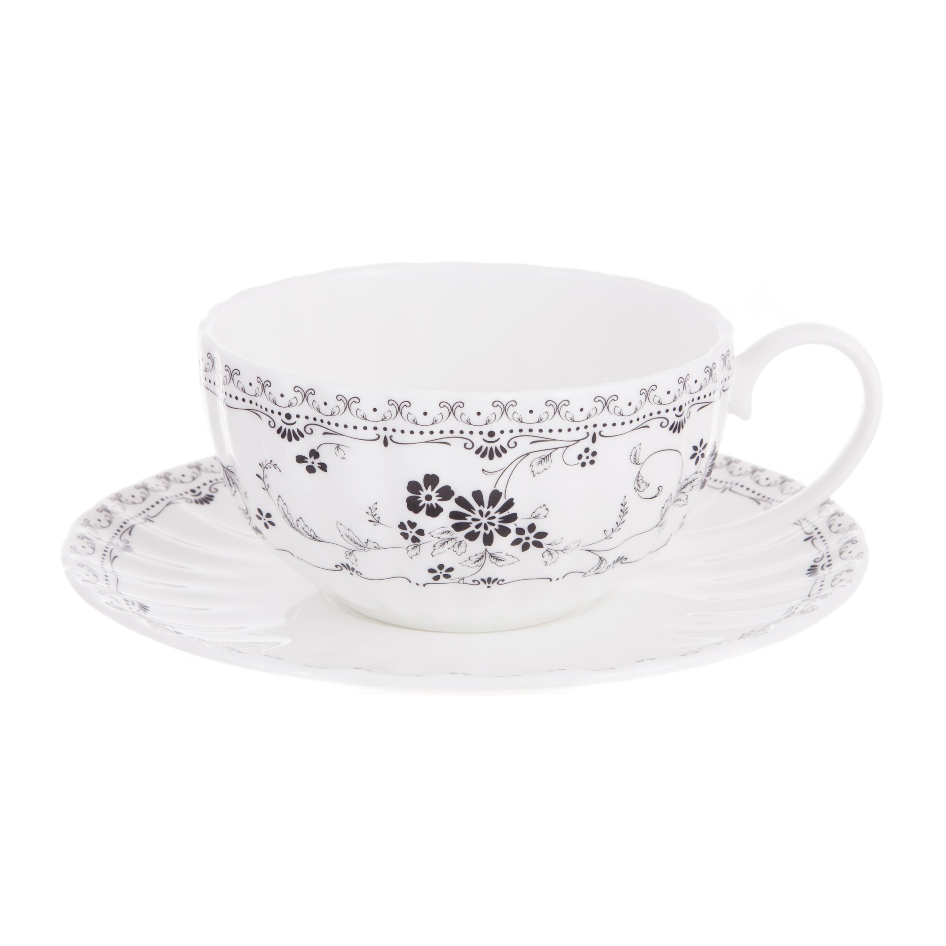 Чашка чайная 370мл с блюдцем дэйзи блэк Hatori Н 1132000 /12879