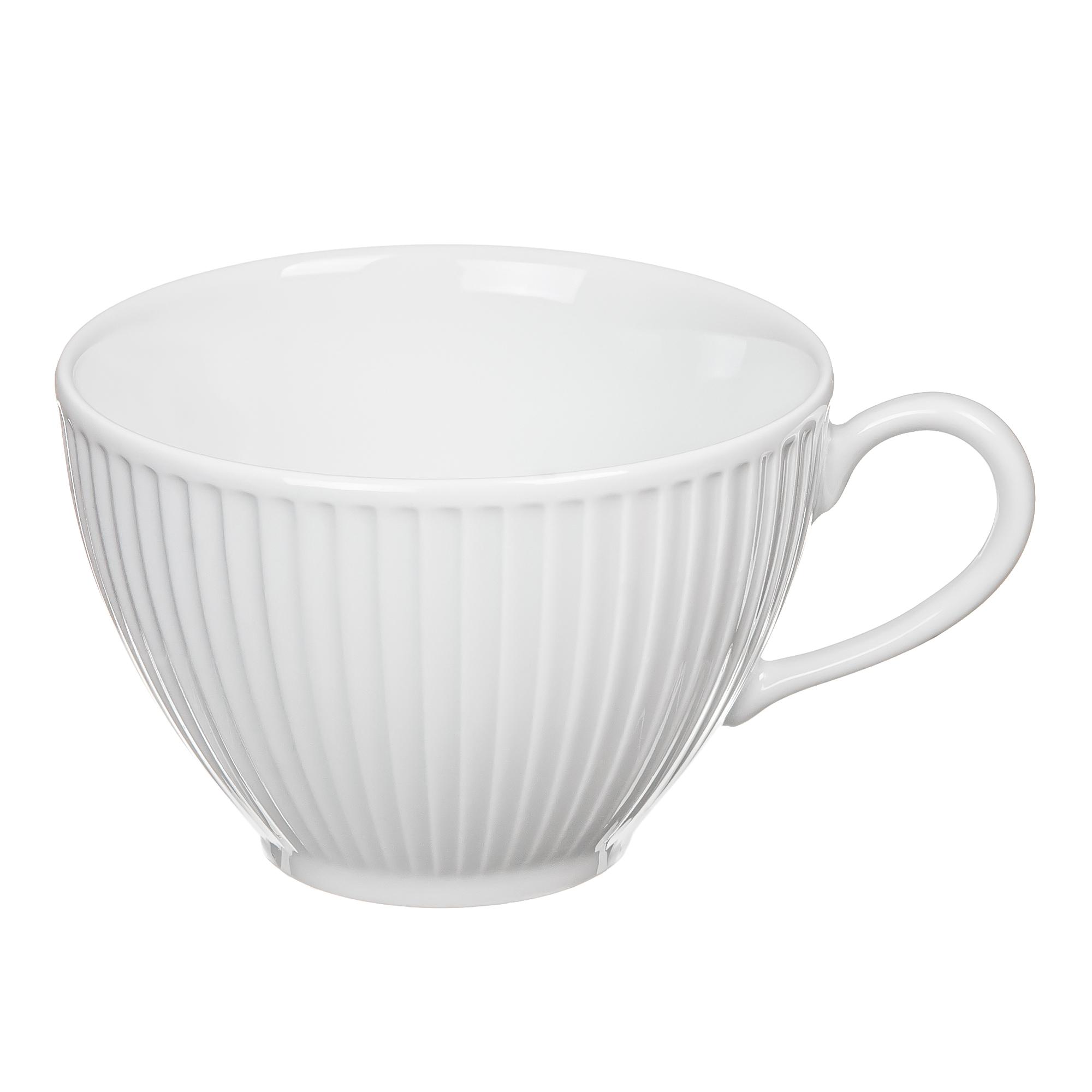 Чашка чайная plisse.290м.белая. PorcelaИндияe Du Reussy 514229BL1
