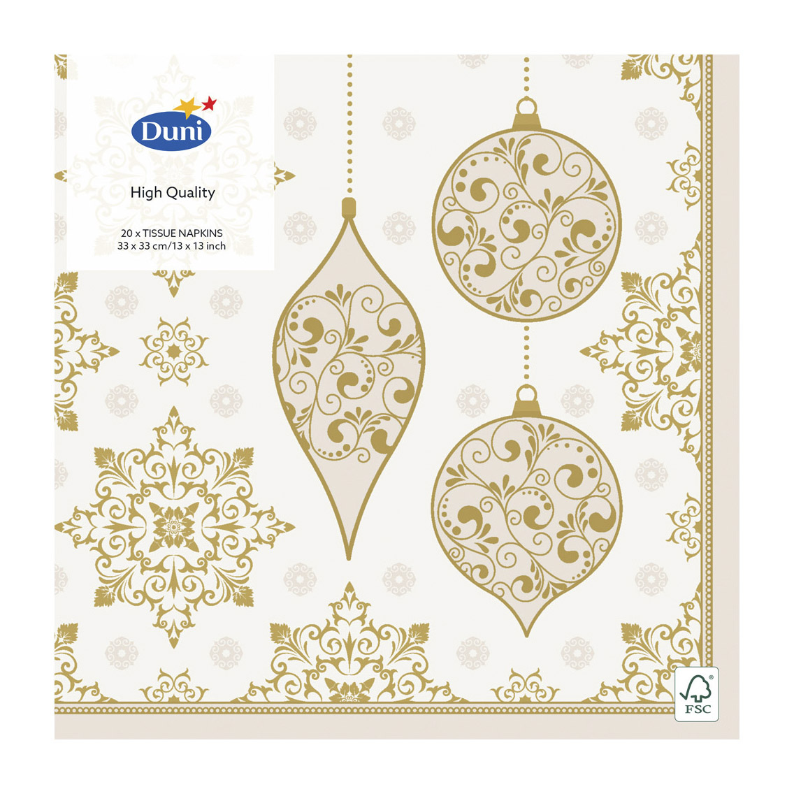 Салфетки бумажные Duni X-MAS DECO CREAM трехслойные 33x33 см 20 шт кольцо декоративная для салфетки goodwill deco 5см