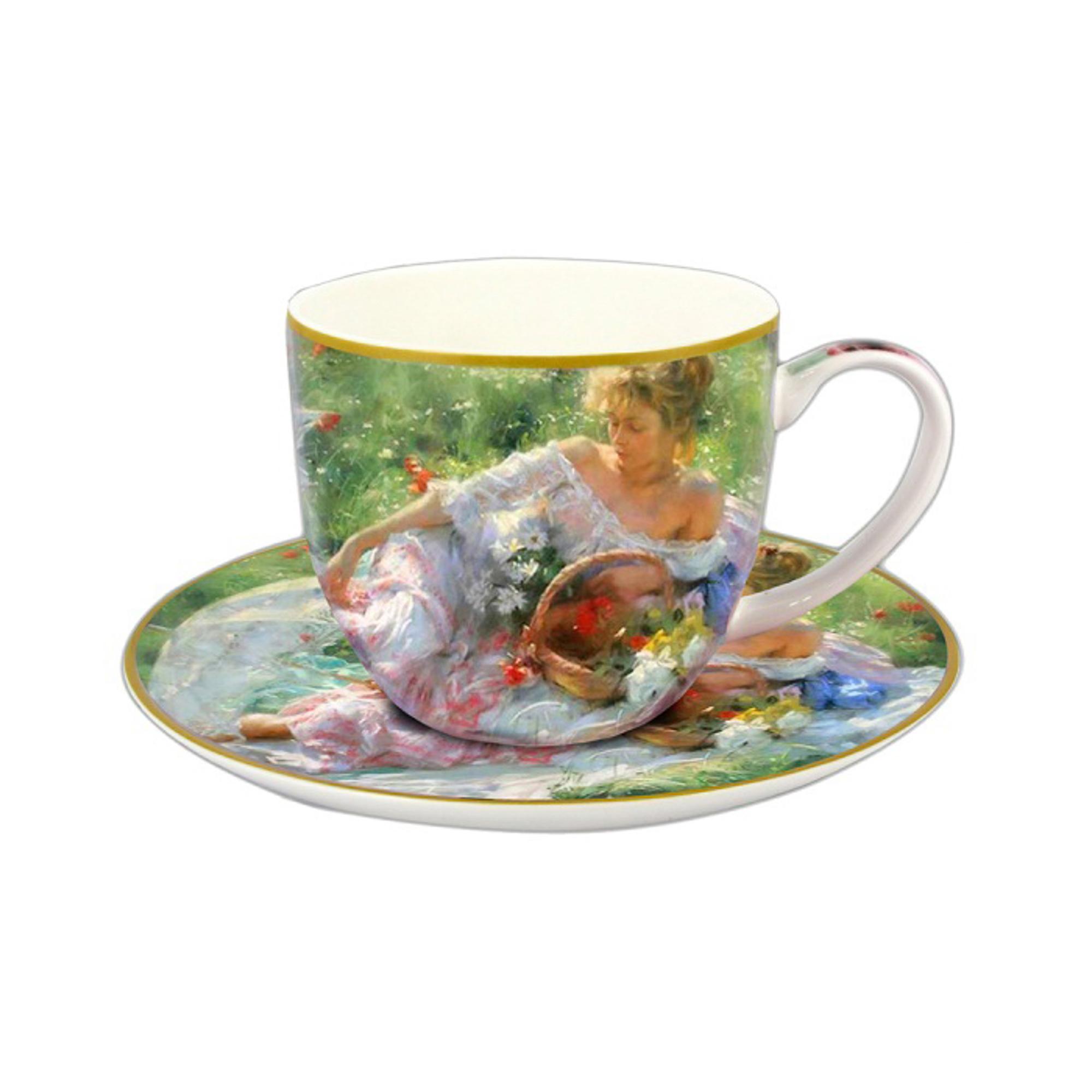 Чашка с блюдцем Девушка с корзиной иной цветов Carmani (CAR2-045-0232) фото