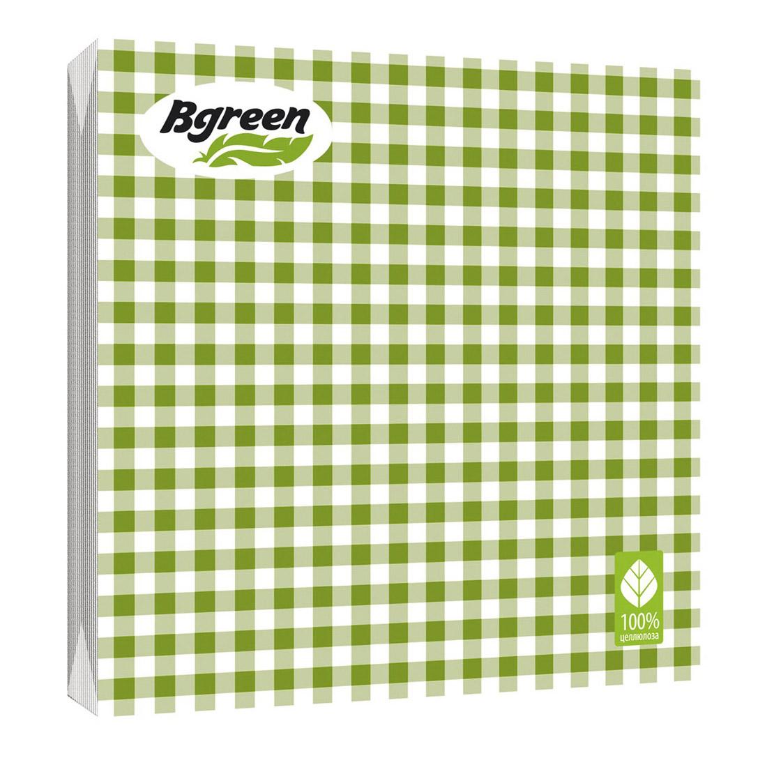 Салфетки бумажные Bulgaree Green Клетка зеленая трехслойные 33x33 см 20 шт