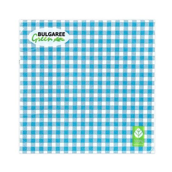 Салфетки бумажные Bulgaree Green Клетка бирюзовая трехслойные 33x33 см 20 шт