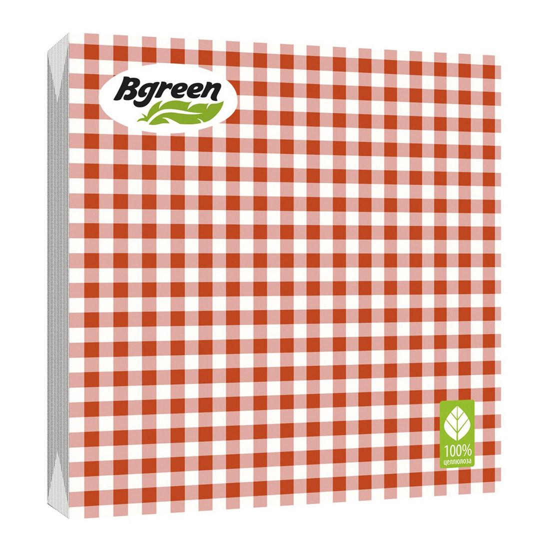 Салфетки бумажные Bulgaree Green Клетка красная трехслойные 33x33 см 20 шт
