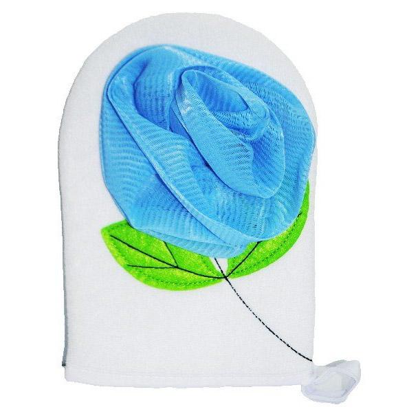 Купить Мочалка синтетическая Beauty Format с декором, рукавица, Китай, белый, синий, полиэстер