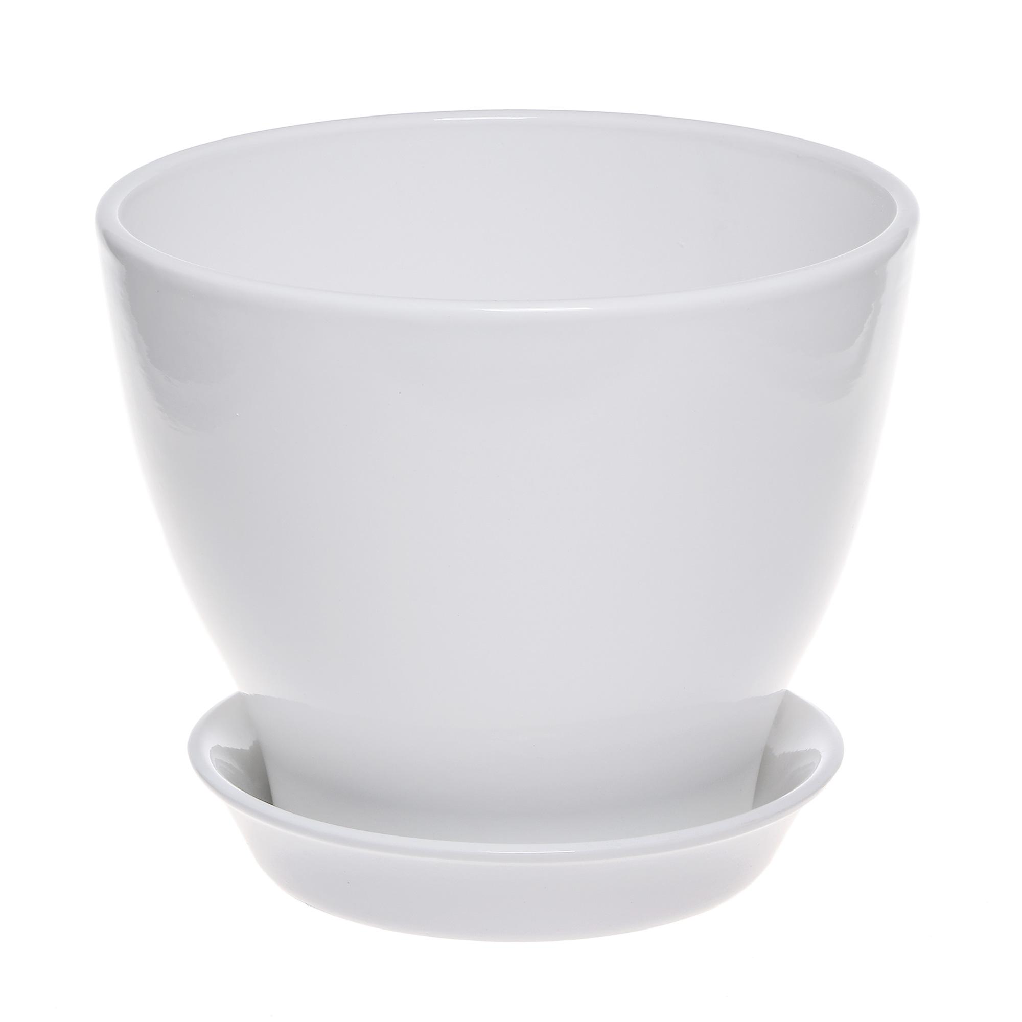 Горшок с поддоном Элитная керамика Ксения глянец белый d25см.