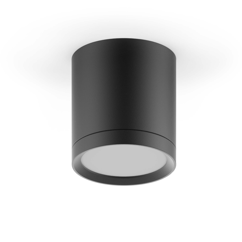 LED светильник накладной с рассеивателем HD014 6W (черный) 3000K 68х75,400лм, 1/30