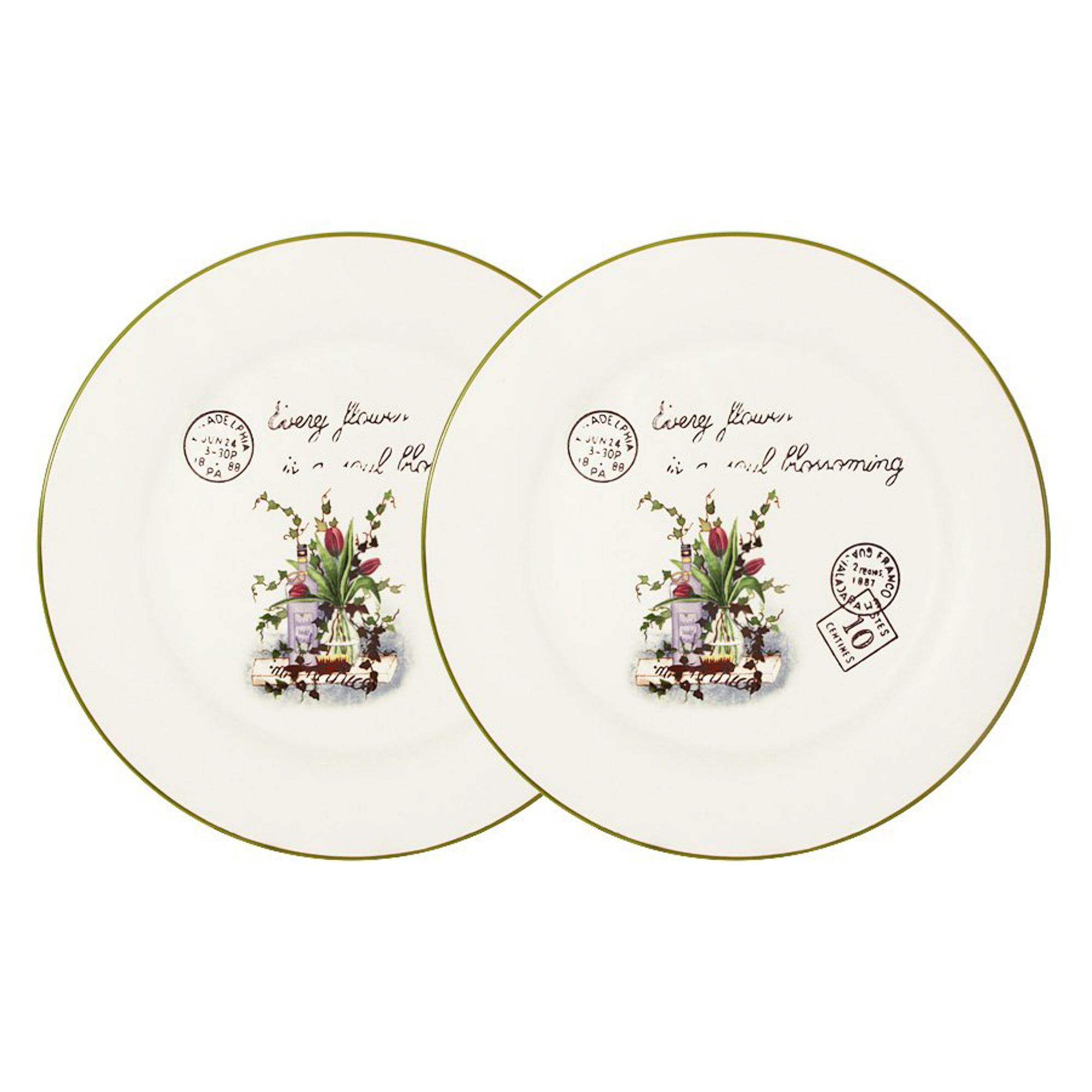 Купить Набор из 2-х обеденных тарелок 25см букет Annalafarg, Китай, керамика