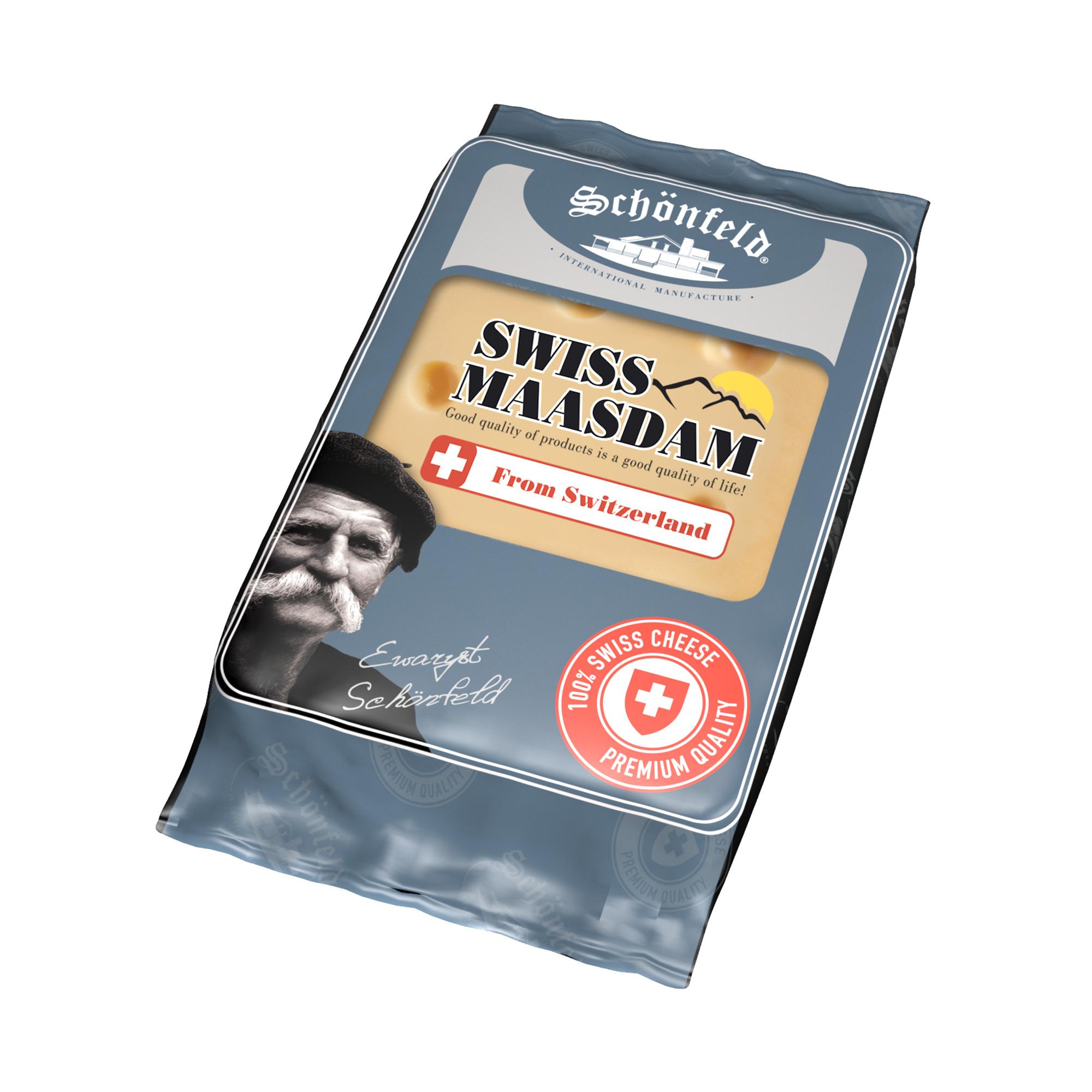 Сыр фасованный Schonfeld Swiss Maasdam кусок 48% 200 г сыр полутвердый schonfeld pepato с перцем горошком 50% кг