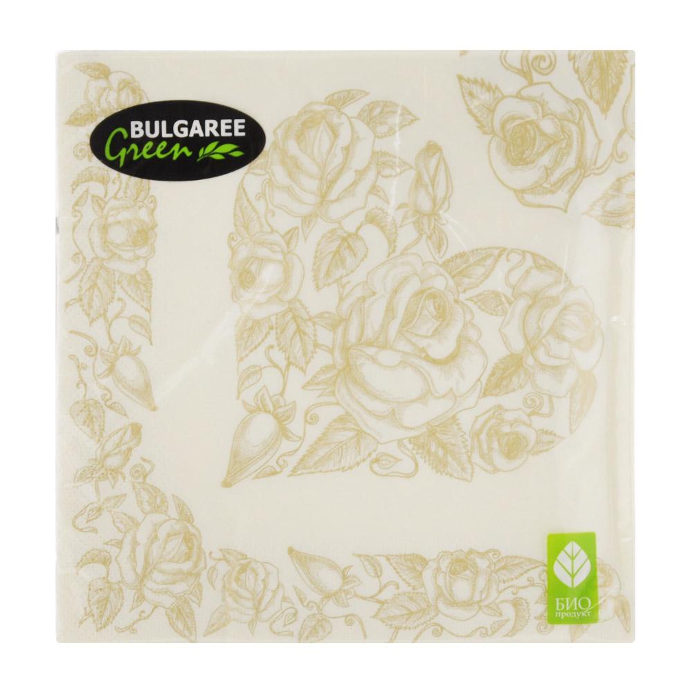 Салфетки бумажные Bulgaree Green Золотое сердце трехслойные 33x33 см 20 шт