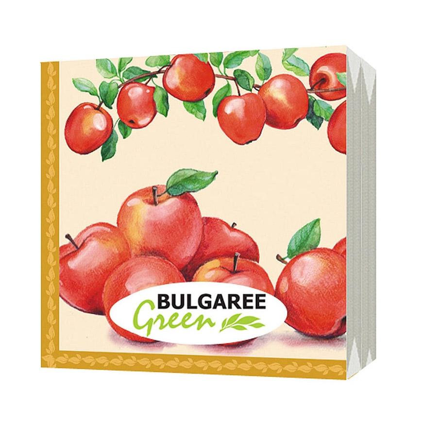 Салфетки бумажные Bulgaree Green Наливные яблоки трехслойные 33x33 см 20 шт