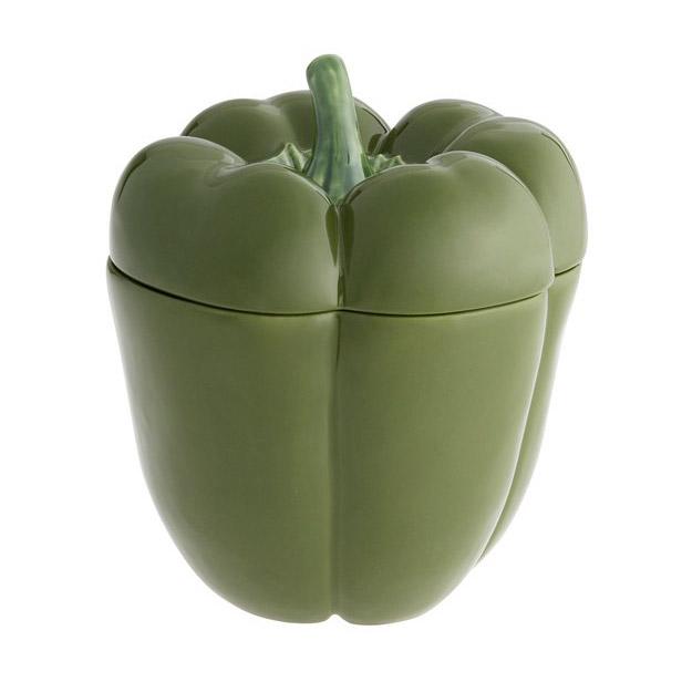 Купить Емкость с крышкой Bordallo Pinheiro Перец 22см зелёный, Bordalloo Pinheiro, Керамика