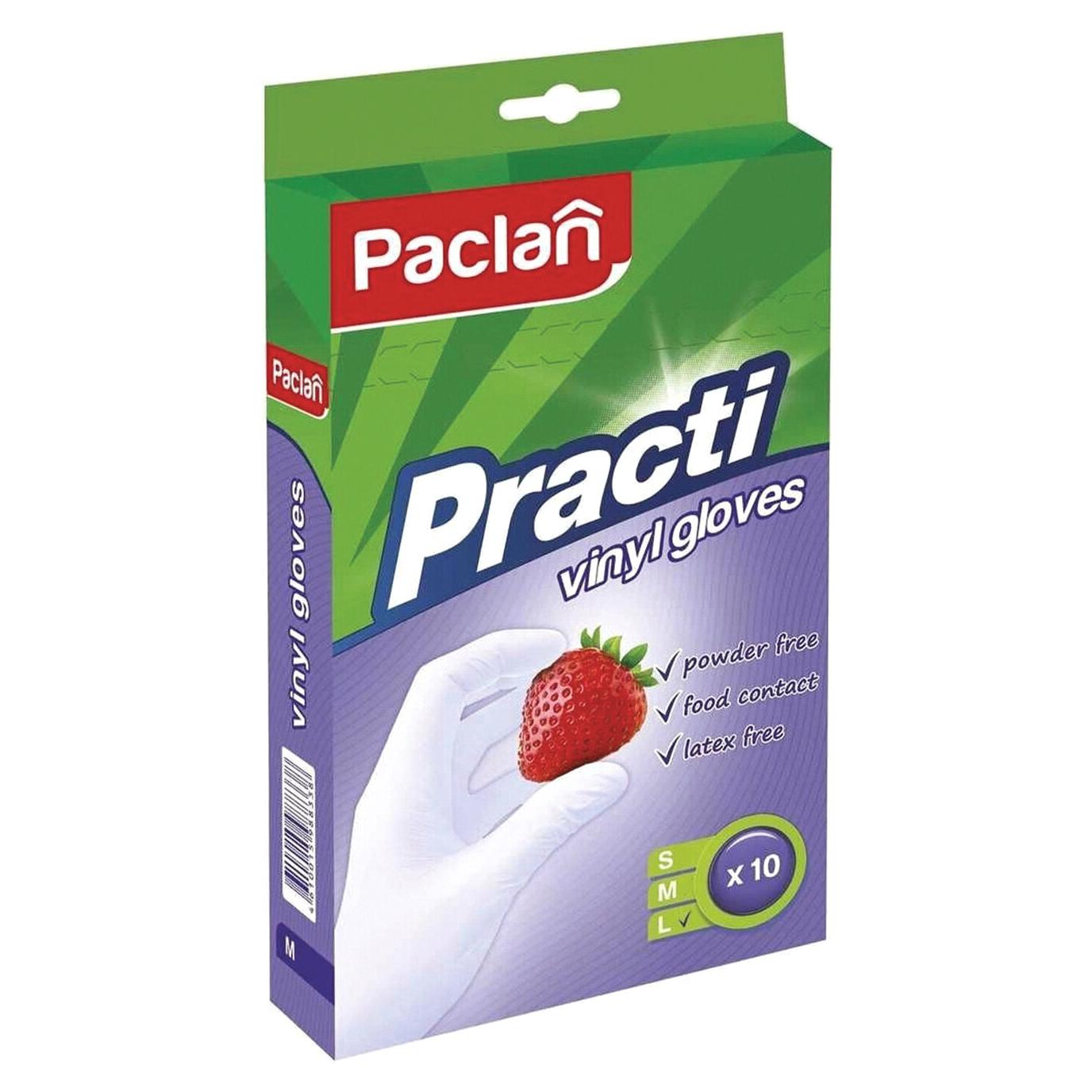 Фото - Перчатки Paclan Practi виниловые L 10 шт перчатки хозяйственные paclan виниловые размер l 10 шт